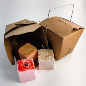 3 Pack Mini Bath Bombs, Rose-Relax, Brown Sugar-Uplifting and Oatmeal-Soothing comes in a mini organic box