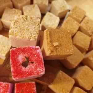 Mini Bath Bombs, Oatmeal, Red Rose and Brown Sugar (3 pack)